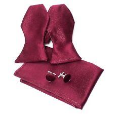 Mens Burgundy Red Paisley Bow Tie Self Tie Cufflinks Hanky Neckwear Set Cr004