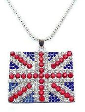 Large Union Jack British Flag Dress London Diamante Souvenir Necklace Pendant UK