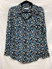 Equipment $249 Silk Star Shirt Blouse Button Up Down Blue Pockets Medium