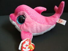 """NWT TY Beanie Boos 6"""" SURF Pink Dolphin Plush Boo 2014 Sparkly Eyes Fish NEW"""
