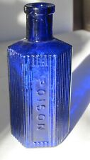 Blue Poison Bottle Ribbed 6-Sided 4 1/2� tall