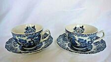 2 tasses à thé en faïence anglaise Johnson Bros décor bleu