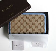 07bab6e35dec3 GUCCI Damen Geldbörse Portemonnaie original GG Canvas Leder beige blau