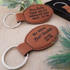 Real Leather Personalised Teachers Key Ring Gift
