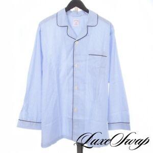 NWT Brooks Brothers White Blue Stripe Navy Piped MOP Btn 2PC Pajamas Set L NR