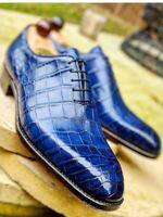 Handmade Men's Blue Crocodail Texture Leather Oxford Shoes