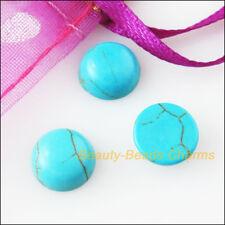 25 New FlatBack Round Loose Cabochon Gemstone Blue Turquoise 10mm