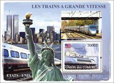 The HIGH SPEED TRAINS of USA (AMTRAK Acela Express) Stamp Sheet 2 (2008 Comoros)