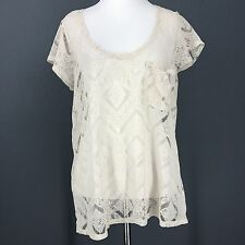 URBAN OUTFITTERS Top L Ivory KIMCHI BLUE Sheer Lace Crochet