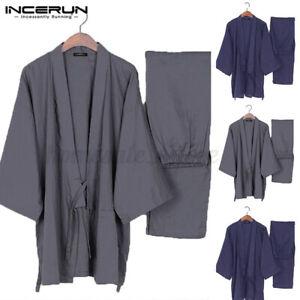 US STOCK Men's Japanese Style Kimono Yukata Pajamas Set Robe Pant Sleepwear Suit