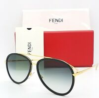 New Fendi sunglasses Aviator FF0155/S MY2 57mm Black Grey Gradient  AUTHENTIC