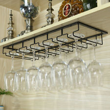 Hanging Wine Glass Rack Stemware Shelf Organizer Under Cabinet Storage 6 Slot