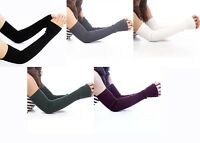 Women's Arm Warmer Stretch Sleeves Cover Winter Long Gloves Knit Mittens 40/50cm