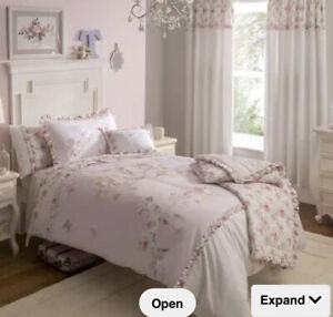 Dorma Woodland Pink Girls Reversible Single Bed Set, Throw And Curtains Next Day