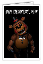 FNAF Five Nights at Freddy's Fazbear Personalised Birthday Card Any Name & Age