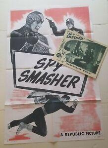 SPY SMASHER 1950's Serial Movie Original Lobby Card & 1 Sht Poster