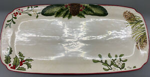 Better Homes And Gardens Heritage Stoneware Christmas Pine Cone Holly Tray