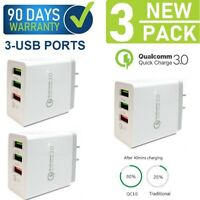 3-Pack 12W 18W 3-USB Ports Quick Fast Wall Charger Qualcomm QC 3.0 Cube {FQ3