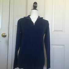 NEW brandy melville blue Cotton zipper collared knit pull over sweater NWT
