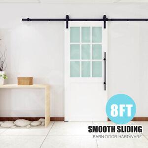 8FT Hardware Kit Sliding Barn Wood Door Carbon Steel Closet Track Kit