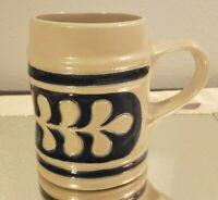 Williamsburg Pottery Stoneware Salt Glaze Blue Oak Leaf Mug
