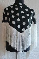 """Espagnol flamenco noir châle blanc avec pois & Frange 57""""x34"""" 145 x 86 cm"""