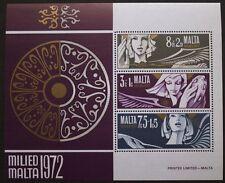 FRANCOBOLLO NATALIZIO foglio, ANGELI, Malta, 1972, SG ref: MS485, Menta, mai a cerniera