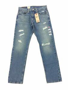NEW Levi's Strauss 502 Regular Taper Warp Stretch Torn Blue Mens Denim Jeans NWT