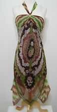 BCBG Maxazria 100% Silk Brown Floral Leaf Print Asymmetrical Hem Halter Dress 4