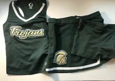 Real 3 Piece Gtm Trojans Cheerleading Uniform Cheer Dark Green and White Spanks