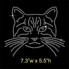 Cat Face Rhinestone/Diamante Transfer Hotfix Iron on Motif Appliqué in crystal