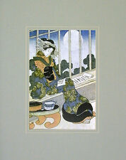 Keisai Yeisen Japanese Lady Reading by Moonlight Poster Kunstdruck Bild 50x40cm