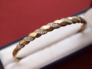 9ct yellow white gold Diamond bangle bracelet 9.4 grams