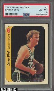 1986 Fleer Sticker Basketball #2 Larry Bird Boston Celtics HOF PSA 6 EX-MT