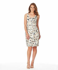Story K Limited Edition abstract leaf Lined Shift Dress desk to dinner Size 16