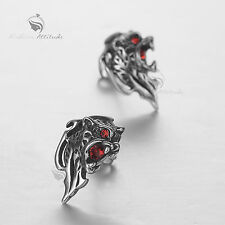 silver mythical animal stud red crystal stainless steel earrings