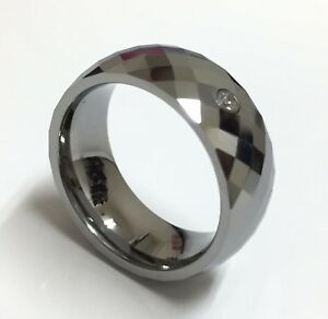 Men's Tungsten Carbide Silver CZ Faceted Cut Comfort Fit Wedding Ring & Band 8mm