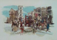 Vintage Christmas Card - Festive European-style Courtyard - American Greetings