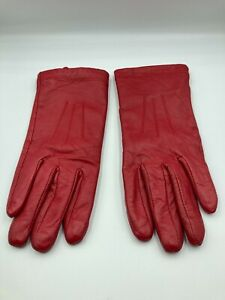 M&S Red 100% Leather Gloves Size Small