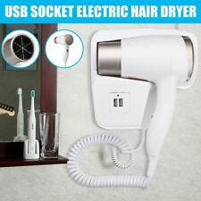 2 Modes Adjustable Usb Socket Wall Hanging Type Electric Hair Dryer With Holder