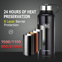 610/800/1100/1500ml Stainless Steel Insulated Sports Water Bottle Vaccum   ~
