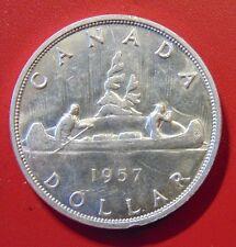 CANADA Canadian 1957 .800 silver dollar AU+ Queen Elizabeth II AU