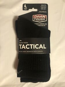 NEW Darn Tough T4066 MICRO CREW MIDWEIGHT TACTICAL SOCK WITH CUSHION, XS, Black