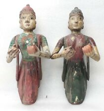 18c Antique Wooden Sculpture Hindu Temple Wall Bracket Apsara Angel Figure