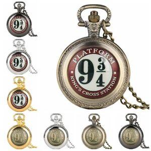 Retro Harry Potter Platform 9 3/4 Unisex Quartz Poket Watch Full Hunter Necklace