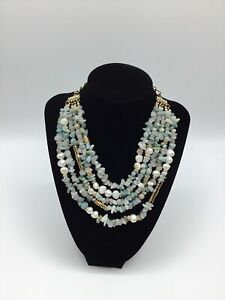 SEQUIN Stone, Faux Pearl And Rhinestone 5 Strand Necklace