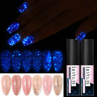 LILYCUTE 5ml Luminous Gel Polish Rose Gold Glitter Soak Off UV LED Nail Varnish