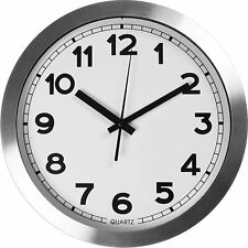 "12"" Large Aluminum Decorative Wall Clock Non Ticking & Silent Utopia Home"