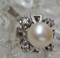 Love Antique ✨ Antik Ring in aus 14kt 585 Gold mit Brillant Diamant Perlen Pearl