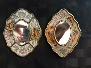Vintage Peruvian Reverse Painted Glass Framed Small Mirror Set/2
